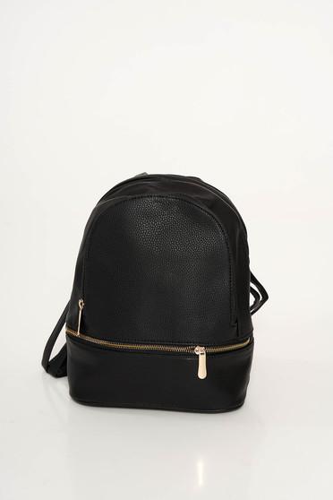 Fekete casual hátizsákok műbőr cipzárral van ellátva