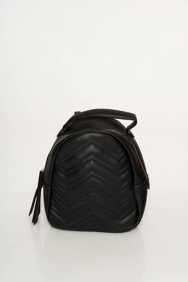 Fekete casual bojtos hátizsák műbőrből