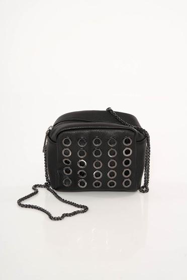 Fekete Top Secret szintetikus bőr táska fém díszítések hosszú lánc típusú pánttal