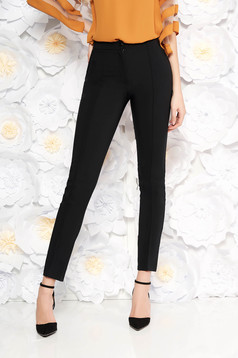 Normál derekú zsebes fekete LaDonna nadrág