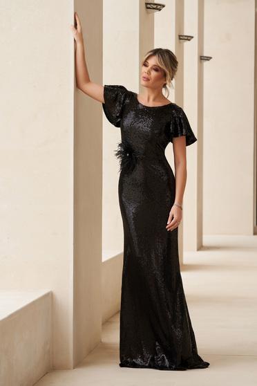 Fekete StarShinerS alkalmi sellő ruha flitteres szűk szabású ruha
