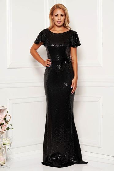 Fekete StarShinerS alkalmi flitteres szűk szabású sellő ruha