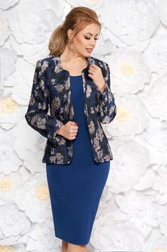 Szűk szabású elegáns kék női kosztüm