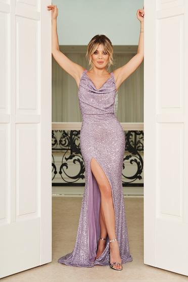 Lila StarShinerS alkalmi szirén tipusú ruha szűk szabás flitter