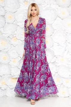 Lila harang hosszú ruha hosszú ujjakkal virágmintás díszítéssel derékban rugalmas