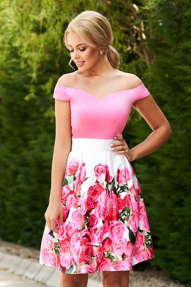 Pink StarShinerS alkalmi rövid virágmintás harang ruha szaténból eltávolítható övvel