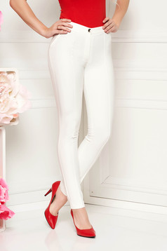 Normál derekú zsebes fehér LaDonna nadrág