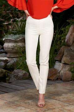 Normál derekú fehér irodai kónikus nadrág enyhén rugalmas anyagból álzsebekkel