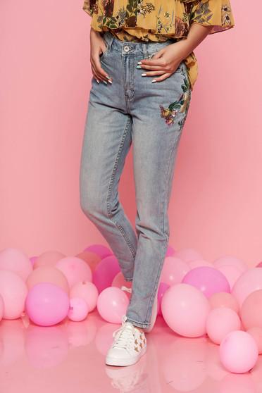 Zsebes Top Secret kék nadrág casual egyenes szabás hímzett betétekkel