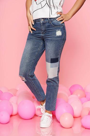 Kék Top Secret casual nadrág normál derekú egyenes szárakkal