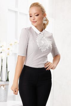 Szürke irodai szűk szabású kötött csipke női ing enyhén elasztikus pamutból