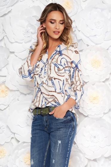 Fehér casual bő szabású női ing 3/4-es ujjakkal lenge anyagból grafikai mintával