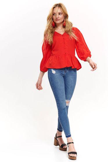 7f1a11a44f Piros Top Secret casual bő szabású női ing háromnegyedes ujjú fodros