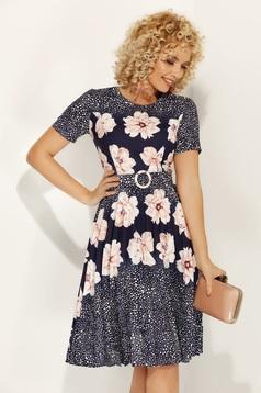 Rózsaszínű Fofy virágmintás hétköznapi harang ruha enyhén rugalmas anyagból öv típusú kiegészítővel
