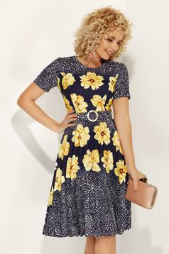 Sárga Fofy virágmintás hétköznapi harang ruha enyhén rugalmas anyagból öv típusú kiegészítővel