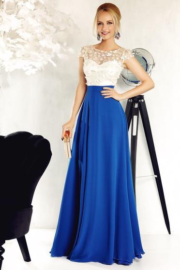 Kék Fofy alkalmi harang ruha fátyol anyag belső béléssel virágos díszek 3d effektus