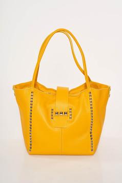 Sárga casual irodai bőr táska szegecsekkel