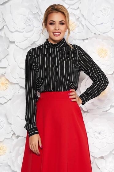 Fekete StarShinerS elegáns bő szabású női ing csíkos vékony anyag