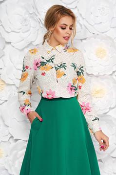 Fehér StarShinerS elegáns bő szabású női ing enyhén áttetsző anyag virágmintás