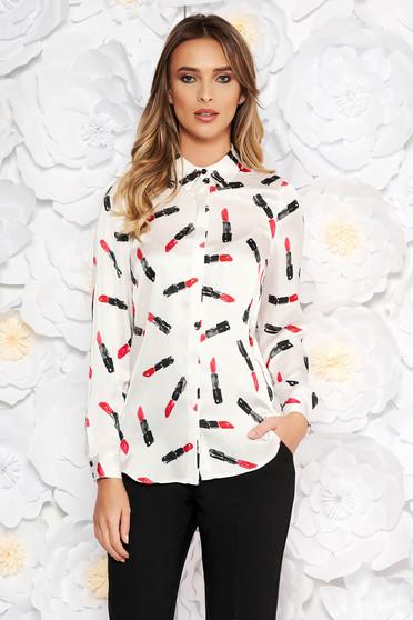 Fehér StarShinerS elegáns bő szabású női ing szatén anyagból grafikai díszítéssel