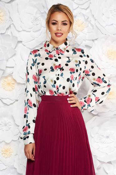 Fehér StarShinerS elegáns bő szabású női ing szatén anyagból virágmintás