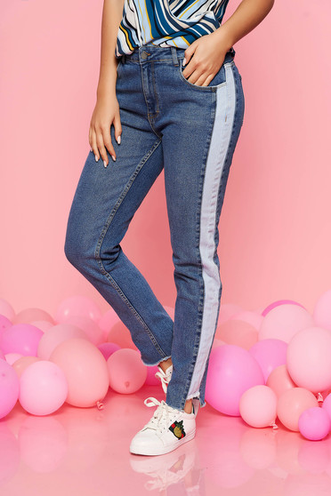 Kék Top Secret kónikus normál derekú nadrág farmerarnyagból