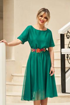 Zöld StarShinerS derékban rugalmas alkalmi harang ruha övvel ellátva
