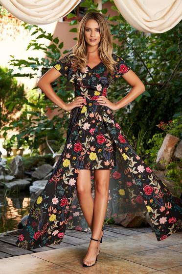 Fekete StarShinerS alkalmi virágmintás harang ruha v-dekoltázzsal fodrok a dekoltázs vonalánál, valamint az aljánál