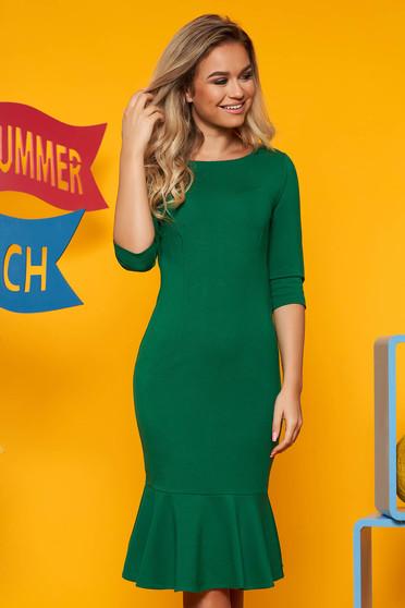 Zöld Top Secret hétköznapi ruha 3/4-es ujjakkal szűk szabás fodrok a ruha alján