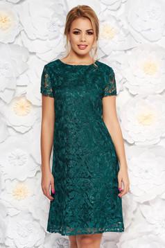 Sötétzöld alkalmi bő szabású ruha csipkés anyag flitteres díszítés belső béléssel