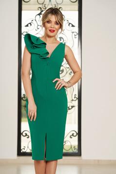 Zöld StarShinerS alkalmi ruha v-dekoltázzsal szűk szabás enyhén elasztikus szövet fodros