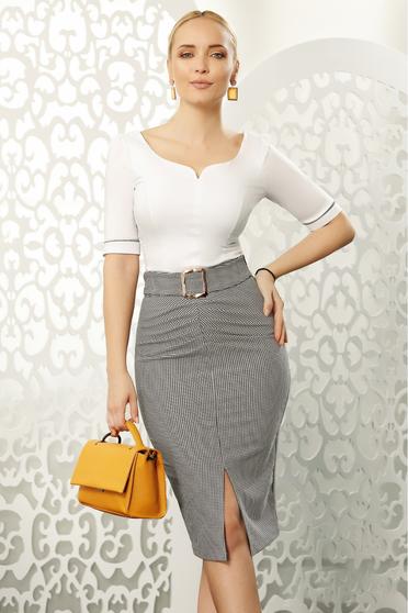 Fehér Fofy irodai szűk szabás női ing rugalmas pamut v-dekoltázzsal masnikkal van ellátva