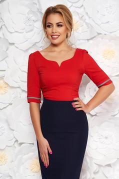 Piros Fofy irodai szűk szabás női ing rugalmas pamut v-dekoltázzsal masnikkal van ellátva