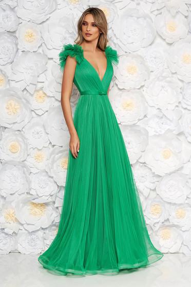 Világos zöld Ana Radu luxus mellrésznél szivacsos ruha tüllből béléssel mély dekoltázzsal