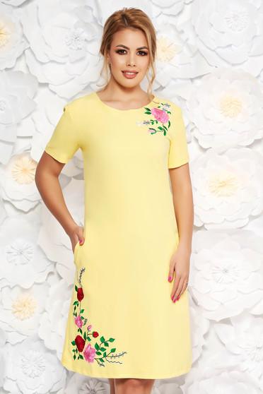 Sárga SunShine hétköznapi egyenes ruha rugalmas anyag hímzett betétekkel