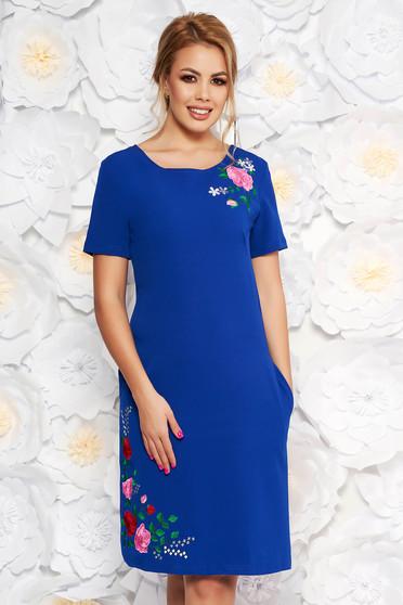 Kék SunShine hétköznapi egyenes ruha rugalmas anyag hímzett betétekkel