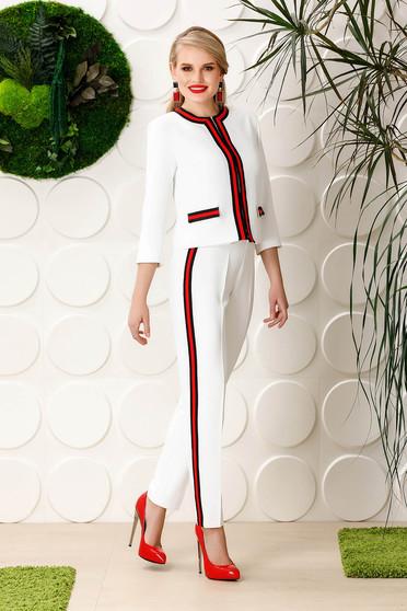 Fehér PrettyGirl elegáns kónikus magas derekú nadrág enyhén rugalmas anyag