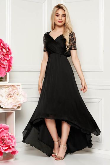 Fekete Artista alkalmi aszimetrikus ruha vékony anyag belső béléssel flitteres díszítés