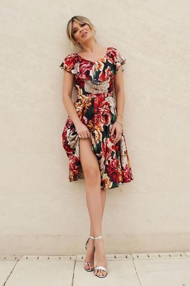 Piros StarShinerS elegáns virágmintás harang ruha szatén övvel ellátva