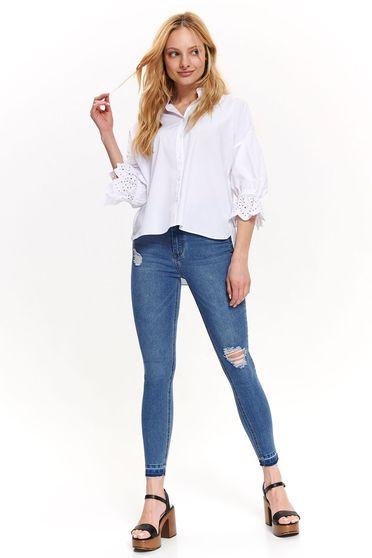 Fehér Top Secret casual bő szabású női ing 3/4-es ujjakkal pamutból készült
