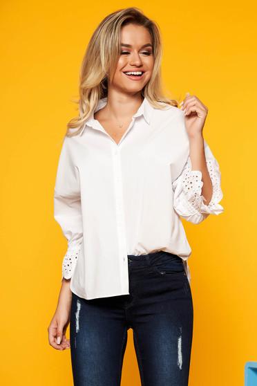 c4da8370c4 Fehér Top Secret casual bő szabású női ing 3/4-es ujjakkal pamutból készült