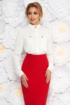 Fehér elegáns irodai bő szabású női ing lenge anyagból