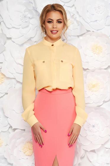 Sárga elegáns irodai bő szabású női ing lenge anyagból