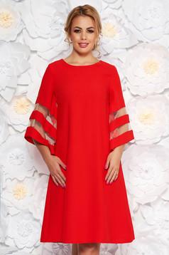 Piros ruha elegáns bő szabású rugalmatlan szövet bő ujjú