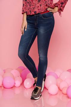 Kék Top Secret casual nadrág szűk szabás pamutból készült
