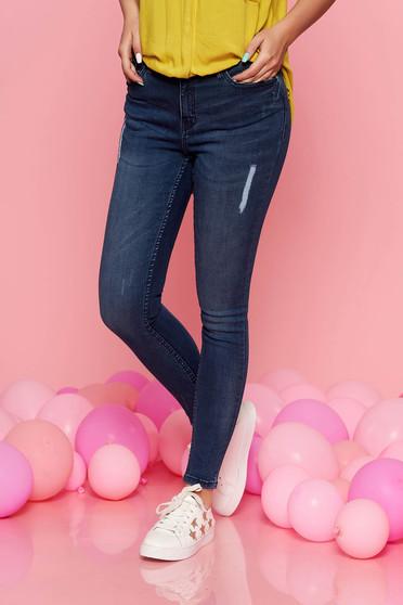 Kék Top Secret casual nadrág rugalmas pamut szűk szabás