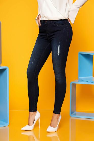 Sötétkék Top Secret casual nadrág rugalmas pamut