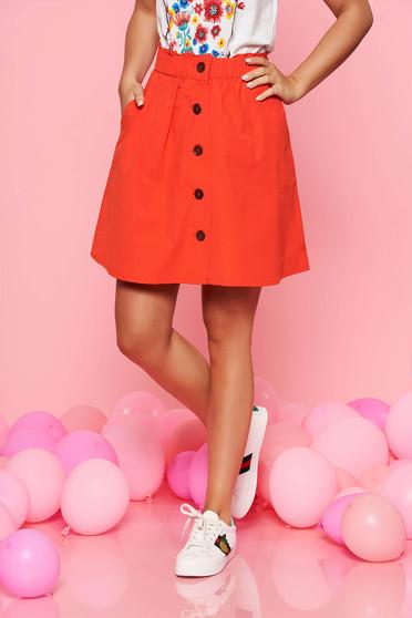 Piros Top Secret casual harang szoknya pamutból készült derékban rugalmas
