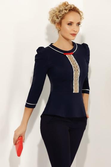 Sötétkék Fofy női ing irodai szűk szabás enyhén elasztikus pamut peplummal