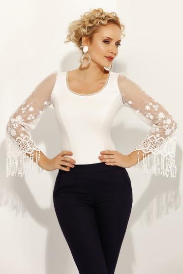 Fehér Fofy női ing elegáns szűk szabás rugalmas pamut csipke ujj